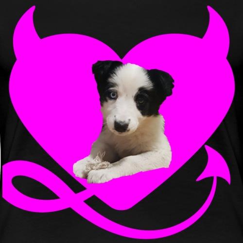 herz mit hund - Frauen Premium T-Shirt