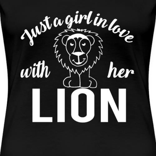 Mädchen mag Löwen Girl Love her Lion - Frauen Premium T-Shirt