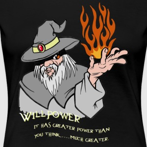 Willpower Wizard Grey/Orange Flame - Vrouwen Premium T-shirt