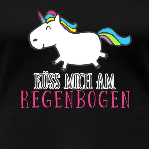 Einkorn Küss mich am Regenbogen - Frauen Premium T-Shirt
