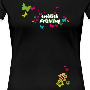 Finally spring blossoms butterflies Easter - Women's Premium T-Shirt