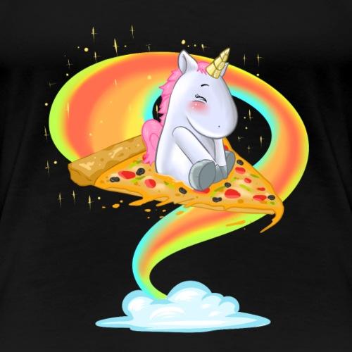 Einhorn und Pizzaliebe - Frauen Premium T-Shirt