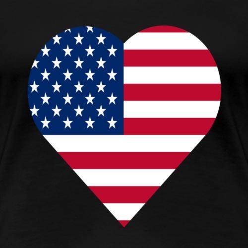 united states of America love heart - Women's Premium T-Shirt