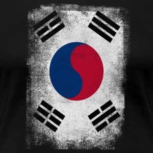 South Korea Flag Proud Korean Vintage Distressed - Women's Premium T-Shirt