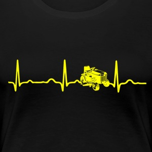 ECG HEARTBEAT RACING MOWER yellow - Women's Premium T-Shirt