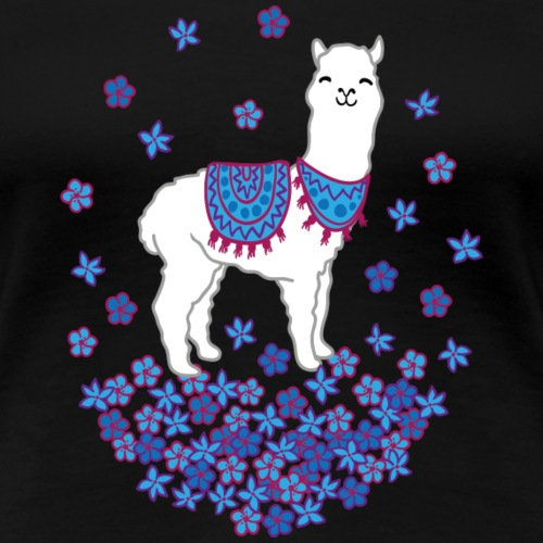 happy Llama flowers - Frauen Premium T-Shirt