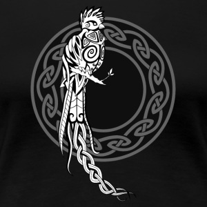 Celtic Quetzal / Bird of Paradise (Black / Circle) - Women's Premium T-Shirt