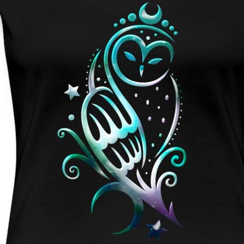 Mond Eule mit Sternen, Tribal Art - Frauen Premium T-Shirt