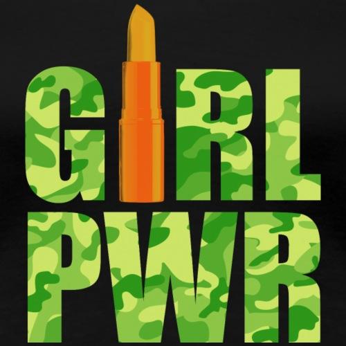 Girl Power Camouflage green orange - Frauen Premium T-Shirt