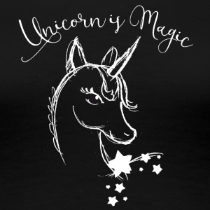 unicorn drawing white mystic filigree fairy Wonderland - Women's Premium T-Shirt