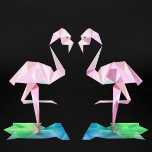 Low-poly Flamingos - Premium-T-shirt dam