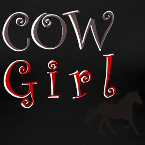 Cow-Girl with horse - Women's Premium T-Shirt