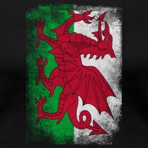 Wales Flag Proud Welsh Vintage Distressed Hemd - Frauen Premium T-Shirt