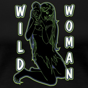 wild woman sexy girl black green - Women's Premium T-Shirt