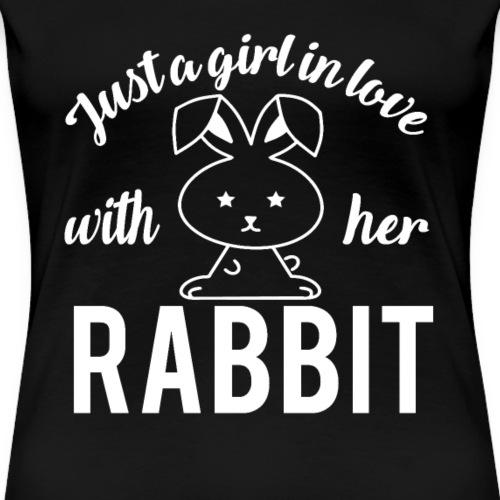 Mädchen liebt Kaninchen Girl Love her Rabbit - Frauen Premium T-Shirt