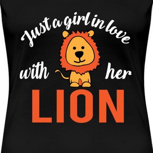 Mädchen Liebe Löwen Girl Love her Lion - Frauen Premium T-Shirt