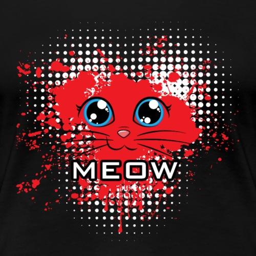 Meow Katze Herz Rot auf schwarz Geschenk - Frauen Premium T-Shirt