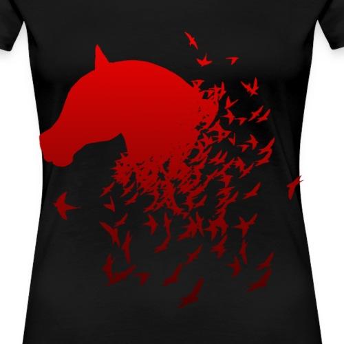 Pferd in rot mit Vögeln Geschenk - Frauen Premium T-Shirt