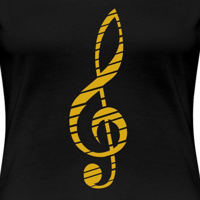 Goldenes Musik Schlüssel Symbol Chopped Up