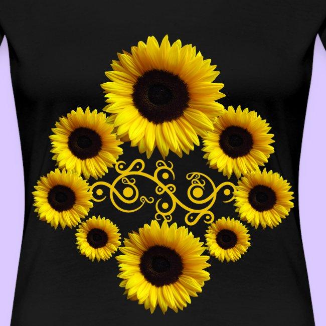 Sonnenblumen mit Ornament, Sonnenblume, Blumen