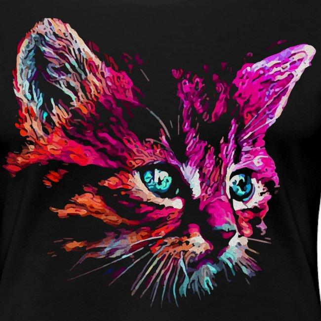 Vorschau: cat pink paint - Frauen Premium T-Shirt