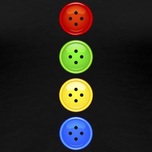 4 farbige Knöpfe bunter Knopf Buttons Regenbogen - Women's Premium T-Shirt