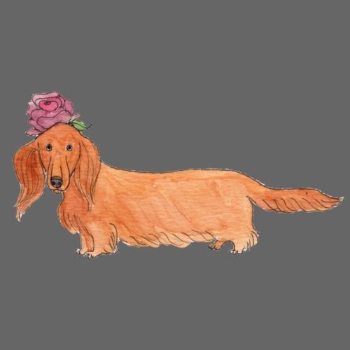 dachshund with flower - Dame premium T-shirt