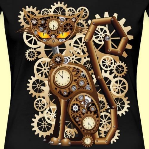 surreal steampunk cat png - Frauen Premium T-Shirt