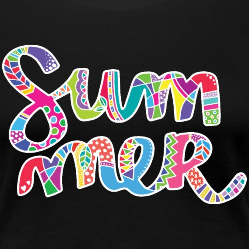 Colorful word summer with pattern - Women's Premium T-Shirt