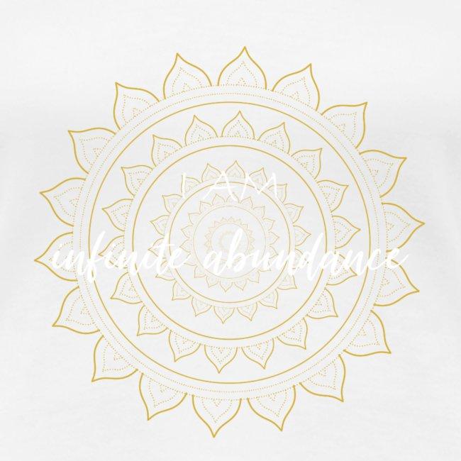 I am infinite abundance white gold mandala