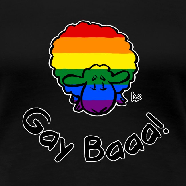 Gay Baaa! Rainbow Pride Sheep (black edition)