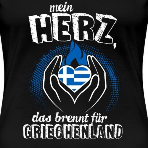 Mein Herz das Brennt für Griechenland Geschenk - Frauen Premium T-Shirt
