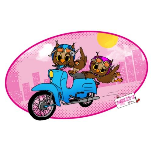 Eulen mit Moped - Eulen byMoni - Frauen Premium T-Shirt