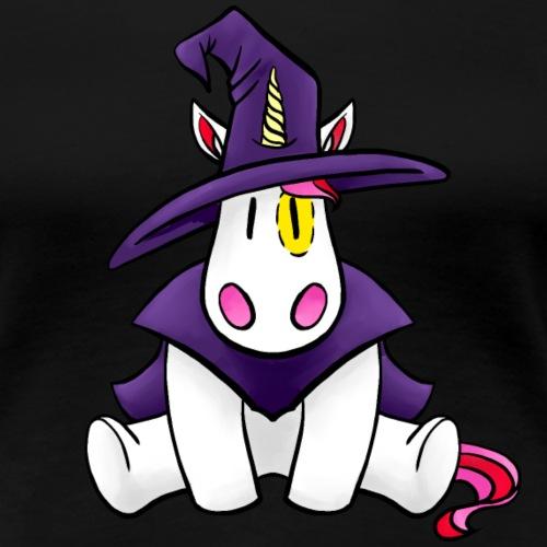 Einhorn als Hexe zu Halloween - Frauen Premium T-Shirt