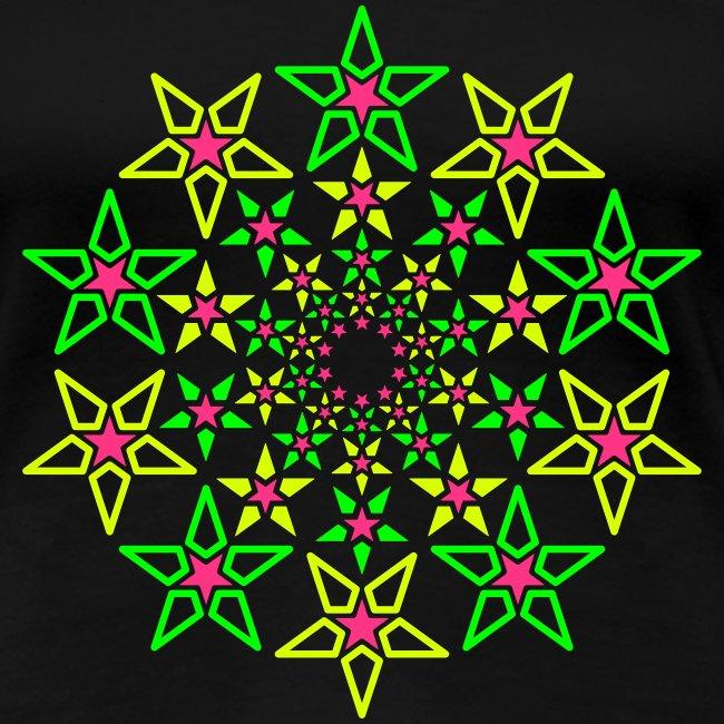 Fractal Star 3 -värinen neon