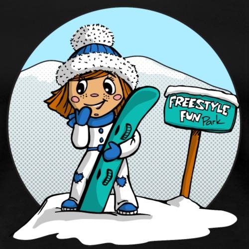 Angel Snowboard blau rund - Frauen Premium T-Shirt