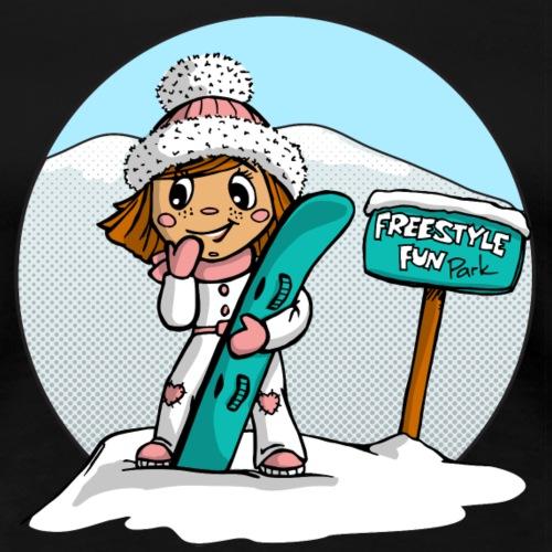 Angel Snowboard pink rund - Frauen Premium T-Shirt
