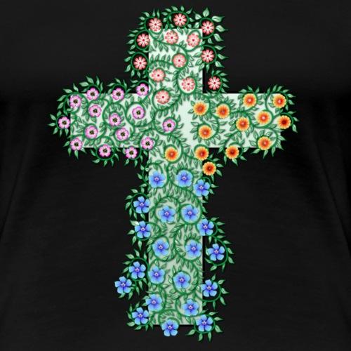 Kreuz mit bunten Blumen und Ranken - Frauen Premium T-Shirt