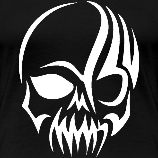 Tribal Skull white mit Logo