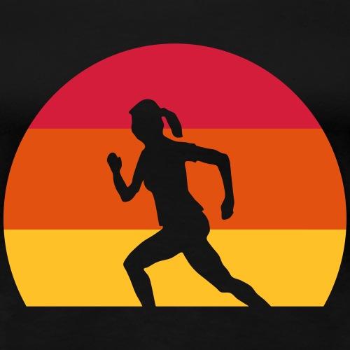 Sport Laufen Joggen Läuferin Sonnenuntergang - Frauen Premium T-Shirt