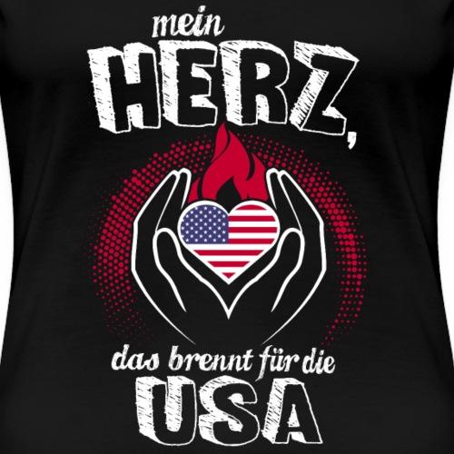 Mein Herz brennt für die USA Geschenk Amerika Fan - Frauen Premium T-Shirt