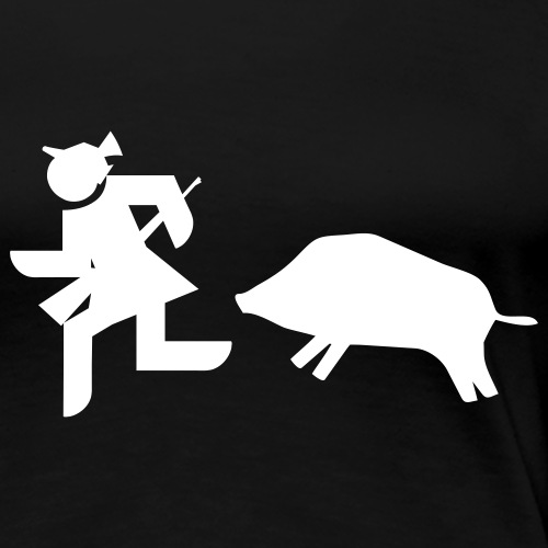 """Jägerin vs Bache""-Jägerinnenshirt - Frauen Premium T-Shirt"