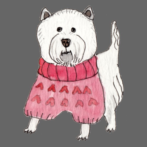 westie with sweater - Dame premium T-shirt