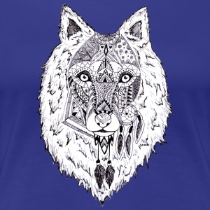 Hand drawn pattern WOLF - Women's Premium T-Shirt