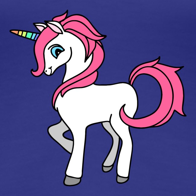 Süsses Einhorn mit rosa Mähne und Regenbogenhorn
