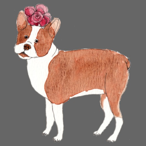 boston terrier with flower - Dame premium T-shirt