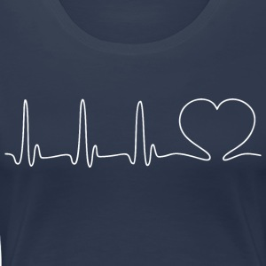 ECG HEART white - Women's Premium T-Shirt