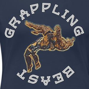 Grappling BEAST (APE VS JAGUAR) NAVY - Premium T-skjorte for kvinner