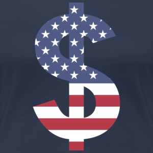 Dollar on American flag - Women's Premium T-Shirt