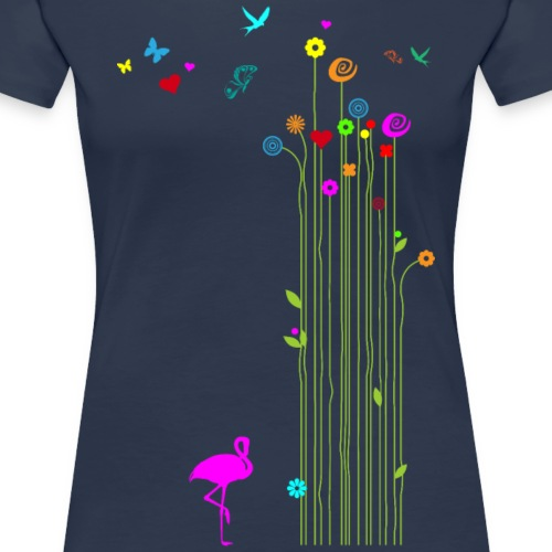 Frühling Flamingo Blumen Schmetterlinge - Women's Premium T-Shirt